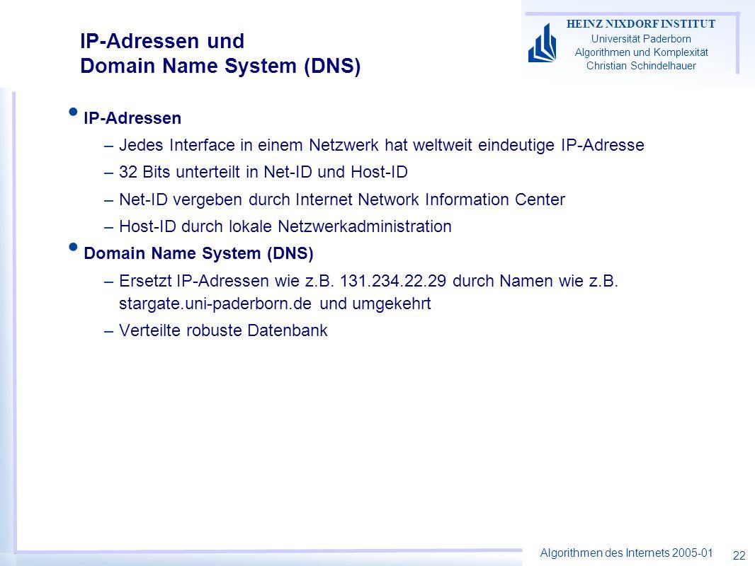IP-Adressen und Domain Name System (DNS)