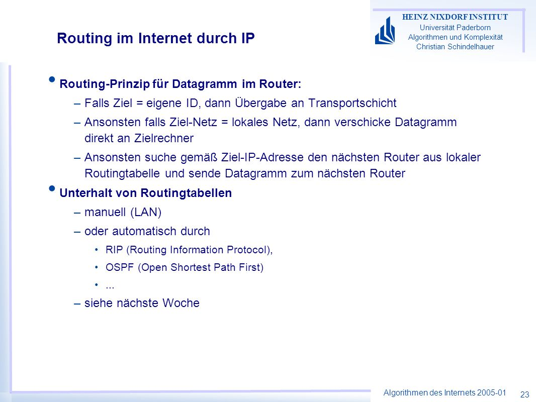 Routing im Internet durch IP