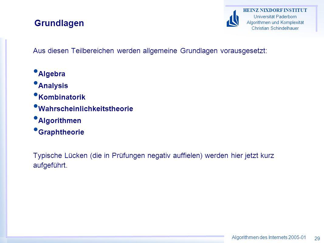 GrundlagenAus diesen Teilbereichen werden allgemeine Grundlagen vorausgesetzt: Algebra. Analysis. Kombinatorik.