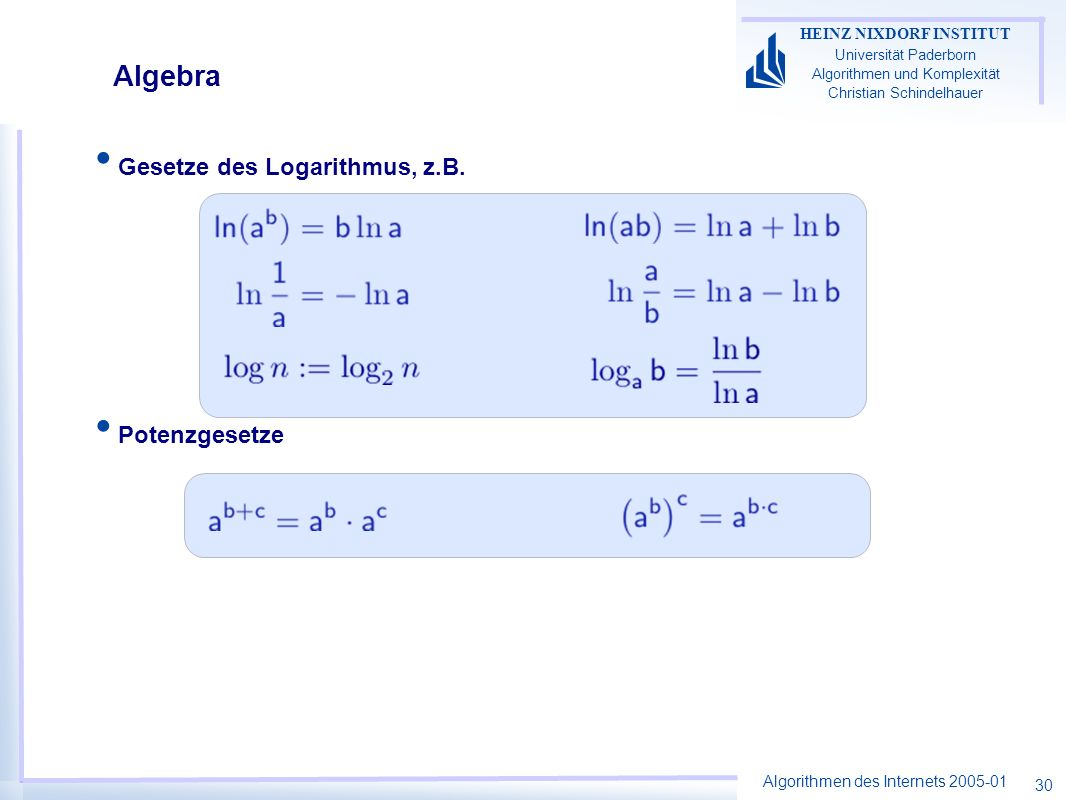 Algebra Gesetze des Logarithmus, z.B. Potenzgesetze