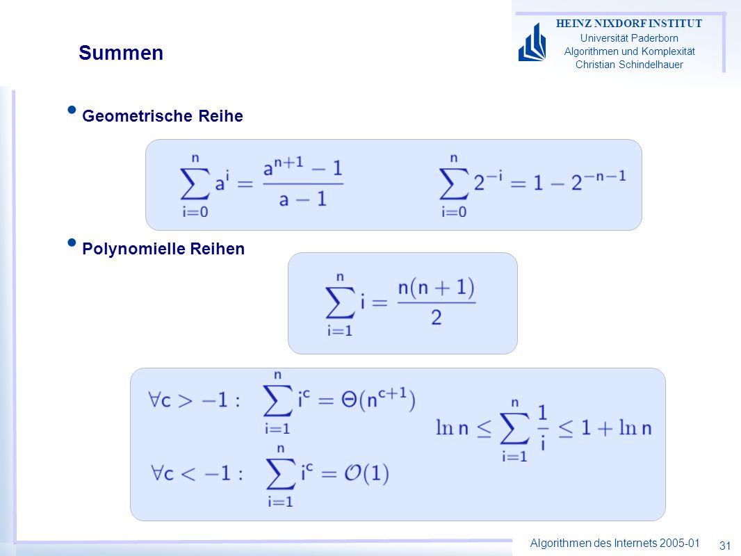 Summen Geometrische Reihe Polynomielle Reihen