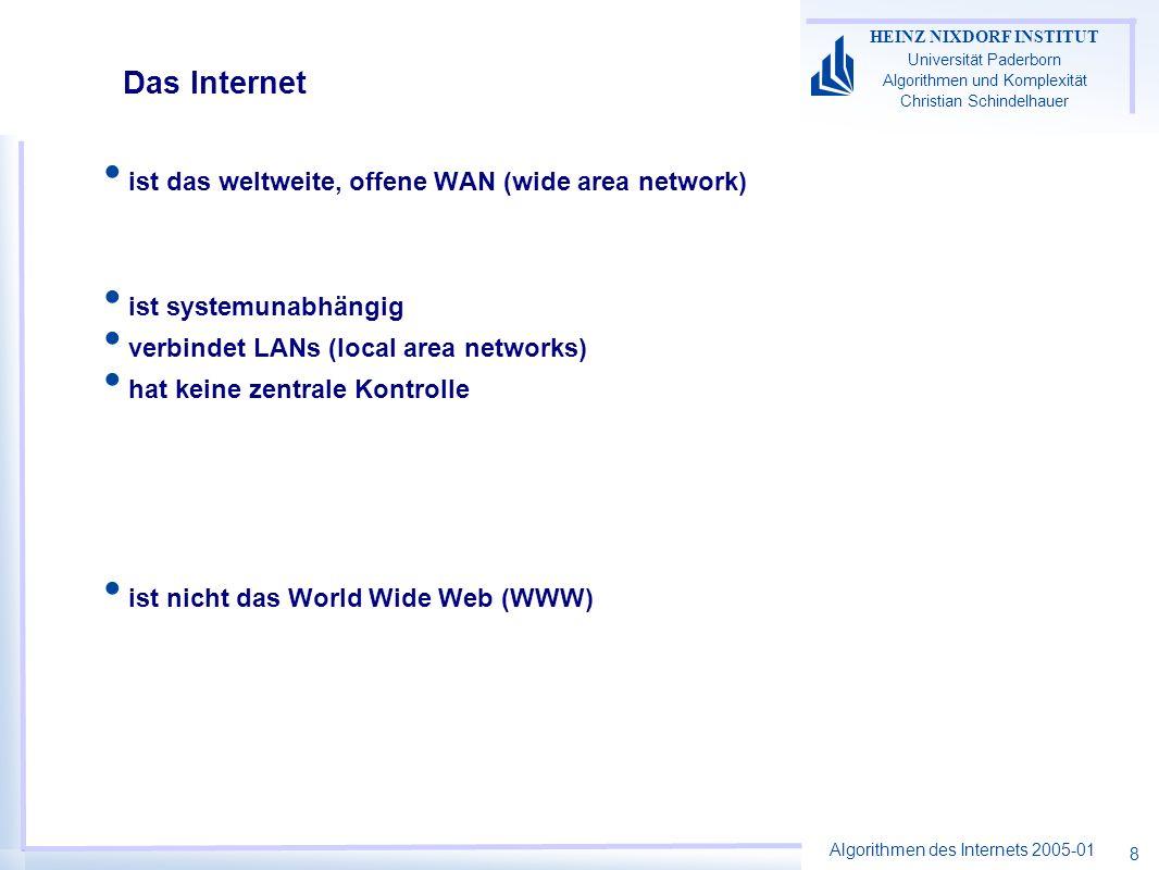 Das Internet ist das weltweite, offene WAN (wide area network)