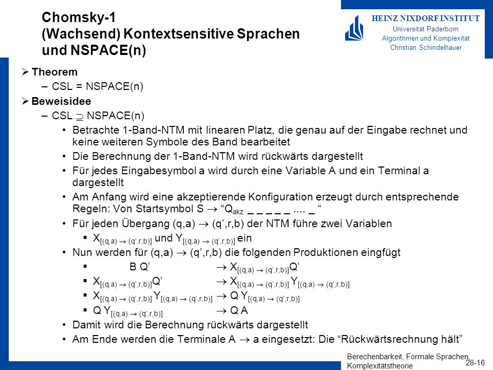 Chomsky-1 (Wachsend) Kontextsensitive Sprachen und NSPACE(n)