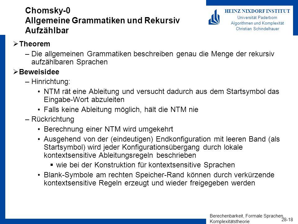 Chomsky-0 Allgemeine Grammatiken und Rekursiv Aufzählbar