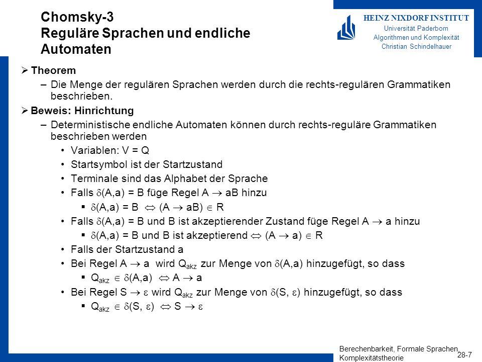 Chomsky-3 Reguläre Sprachen und endliche Automaten