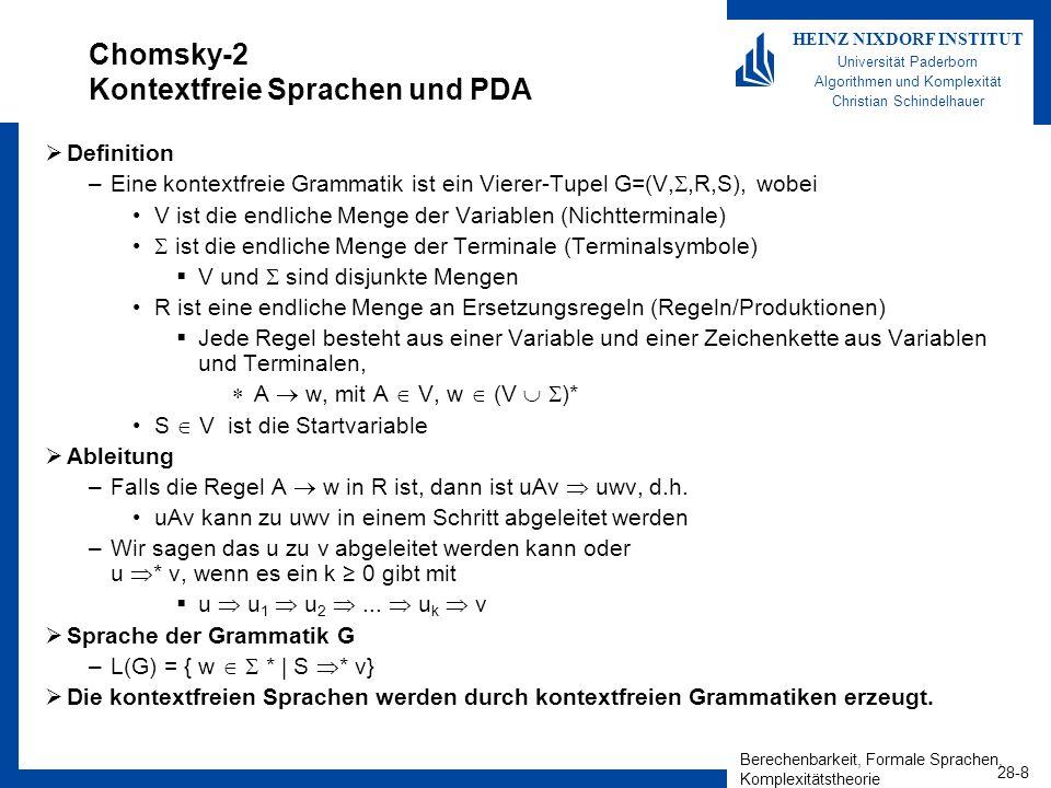 Chomsky-2 Kontextfreie Sprachen und PDA
