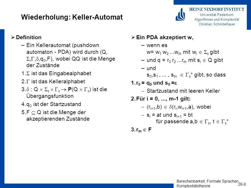 Wiederholung: Keller-Automat