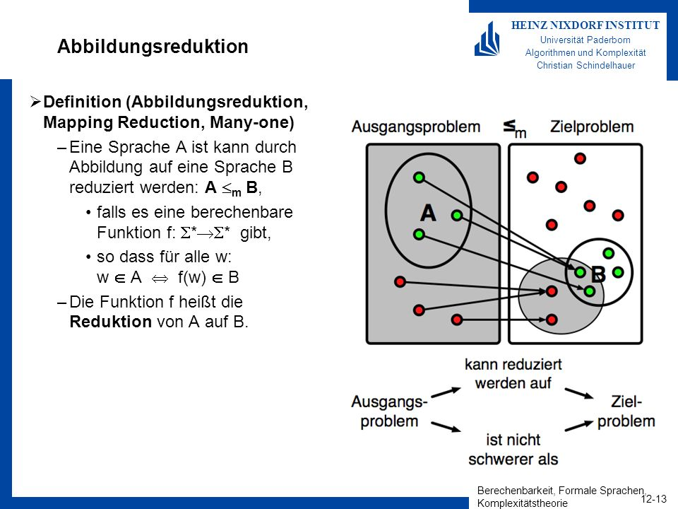 Abbildungsreduktion Definition (Abbildungsreduktion, Mapping Reduction, Many-one)