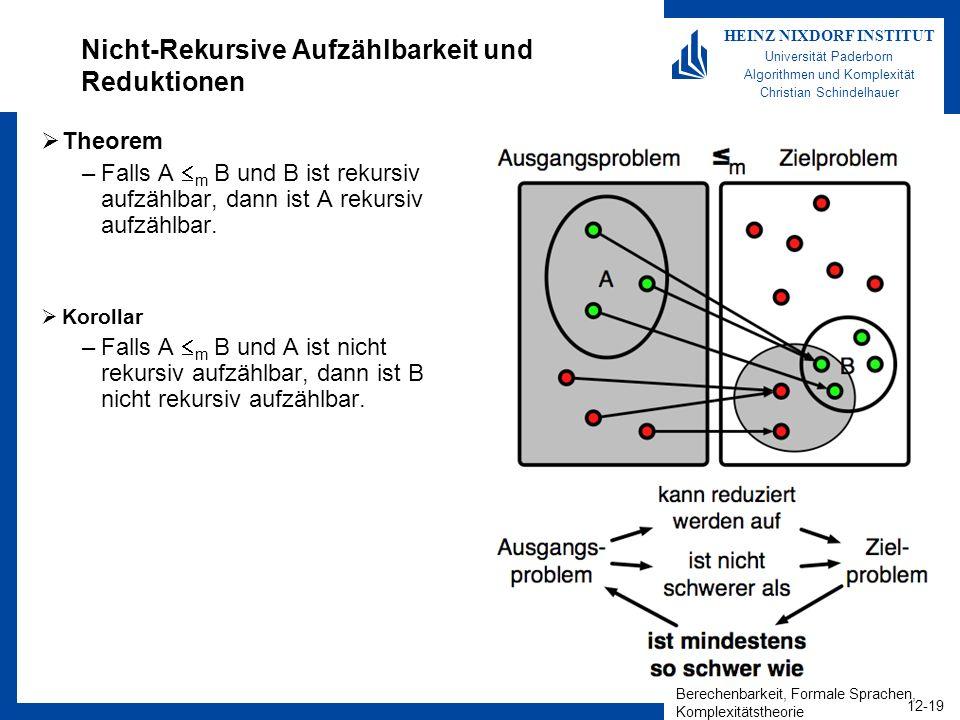 Nicht-Rekursive Aufzählbarkeit und Reduktionen