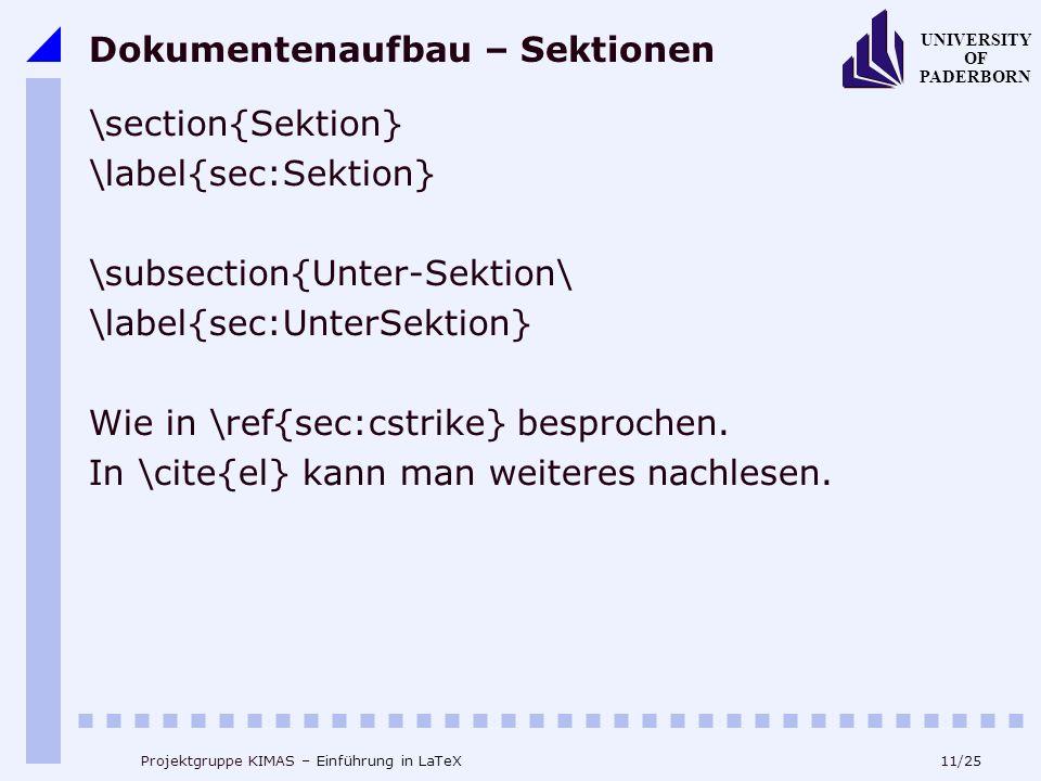 Dokumentenaufbau – Sektionen