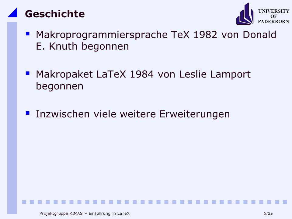 Makroprogrammiersprache TeX 1982 von Donald E. Knuth begonnen