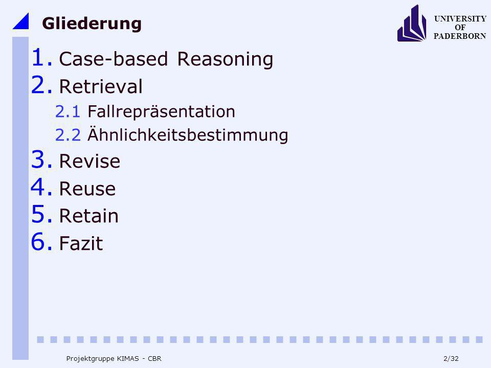 Case-based Reasoning Retrieval Revise Reuse Retain Fazit Gliederung