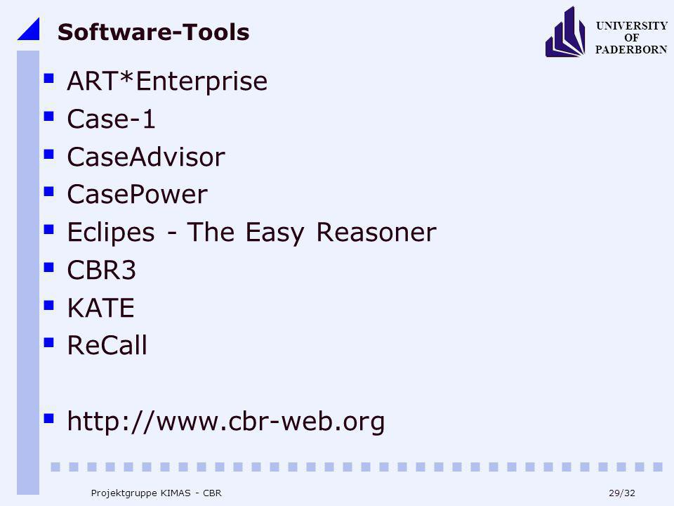 Eclipes - The Easy Reasoner CBR3 KATE ReCall http://www.cbr-web.org