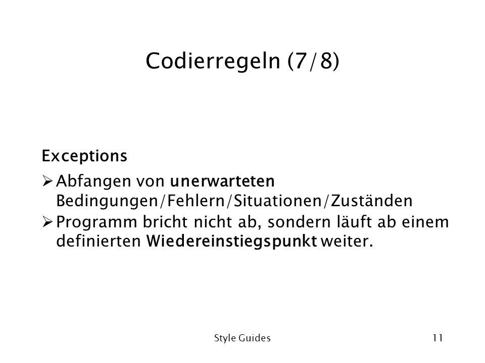 Codierregeln (7/8) Exceptions