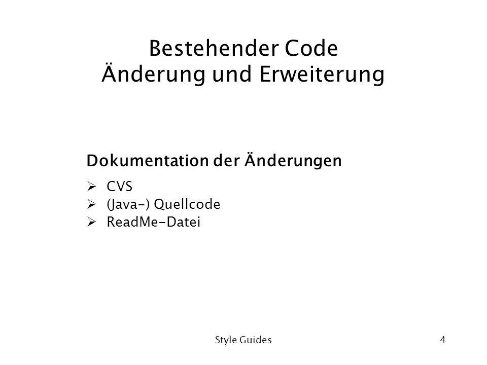 Bestehender Code Änderung und Erweiterung