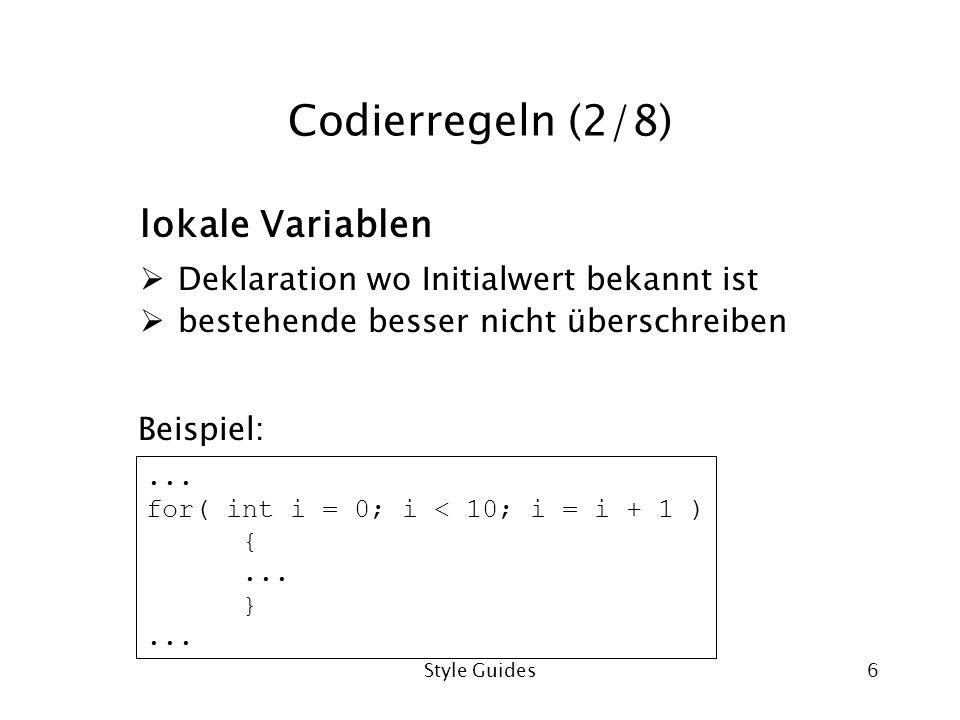 Codierregeln (2/8) lokale Variablen