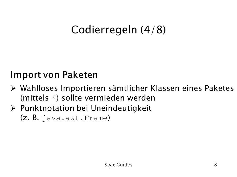 Codierregeln (4/8) Import von Paketen