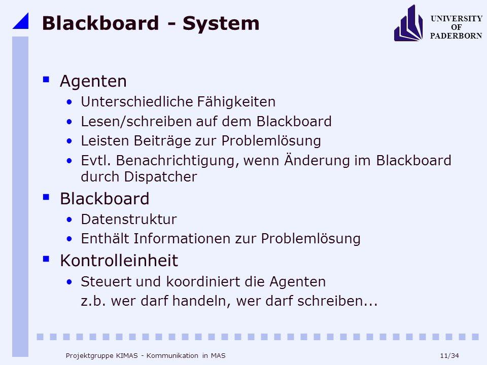 Blackboard - System Agenten Blackboard Kontrolleinheit