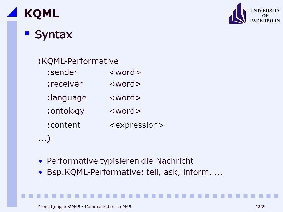 KQML Syntax Syntax (KQML-Performative :sender <word>