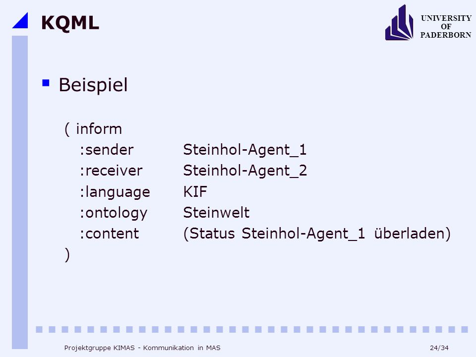KQML Beispiel ( inform :sender Steinhol-Agent_1