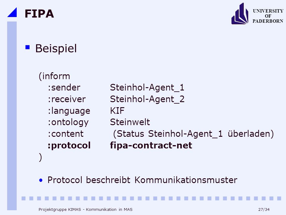 FIPA Beispiel (inform :sender Steinhol-Agent_1