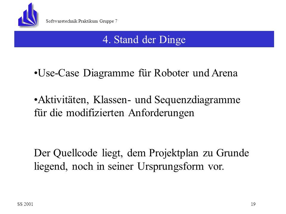 Use-Case Diagramme für Roboter und Arena