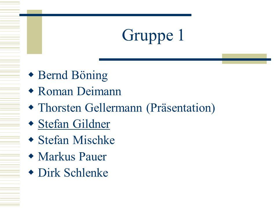 Gruppe 1 Bernd Böning Roman Deimann Thorsten Gellermann (Präsentation)