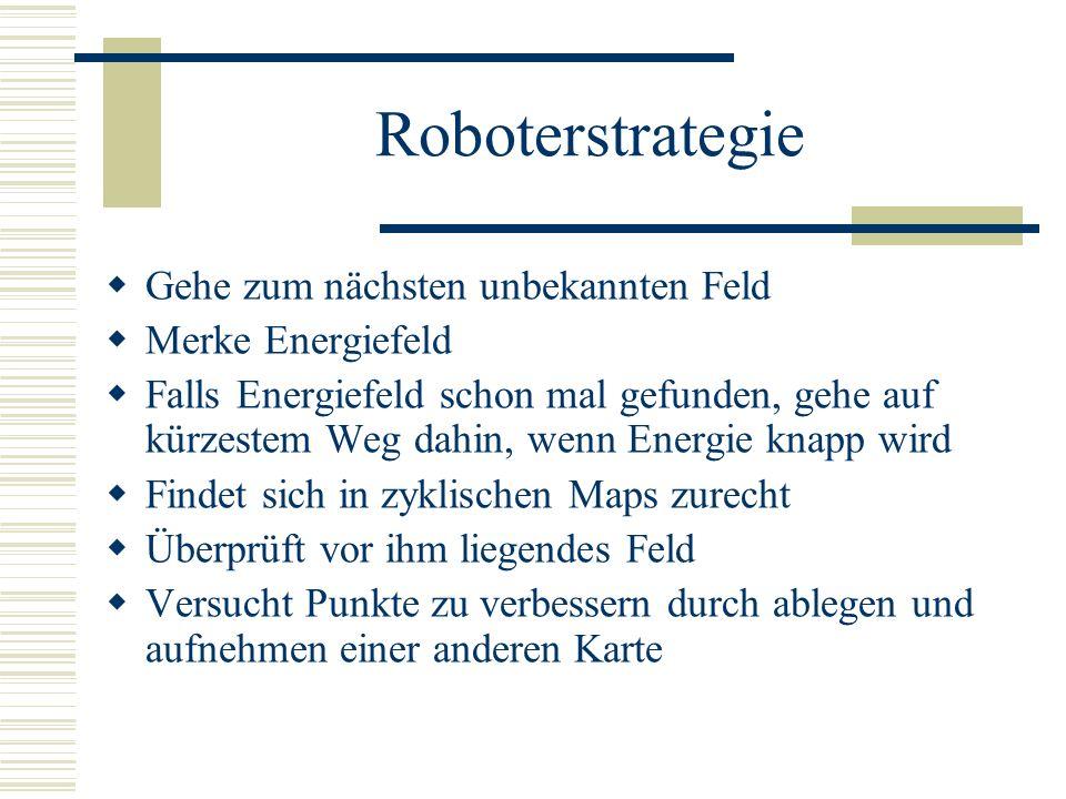 Roboterstrategie Gehe zum nächsten unbekannten Feld Merke Energiefeld