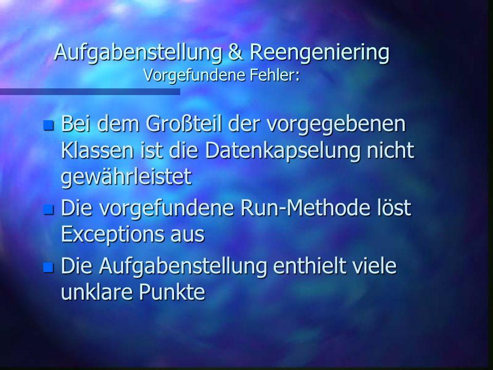Aufgabenstellung & Reengeniering Vorgefundene Fehler: