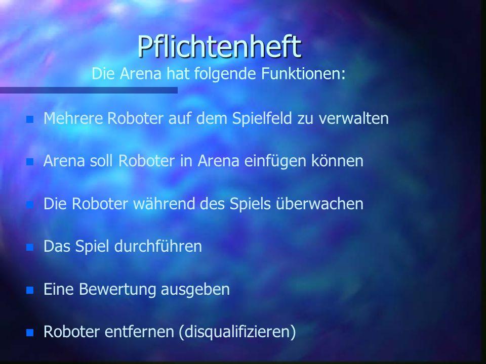 Pflichtenheft Die Arena hat folgende Funktionen: