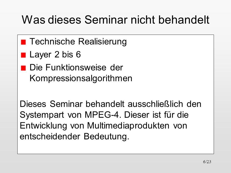 Was dieses Seminar nicht behandelt