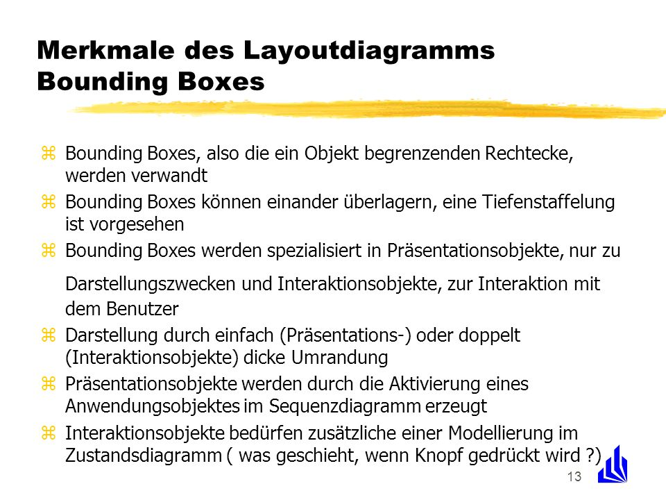 Merkmale des Layoutdiagramms Bounding Boxes