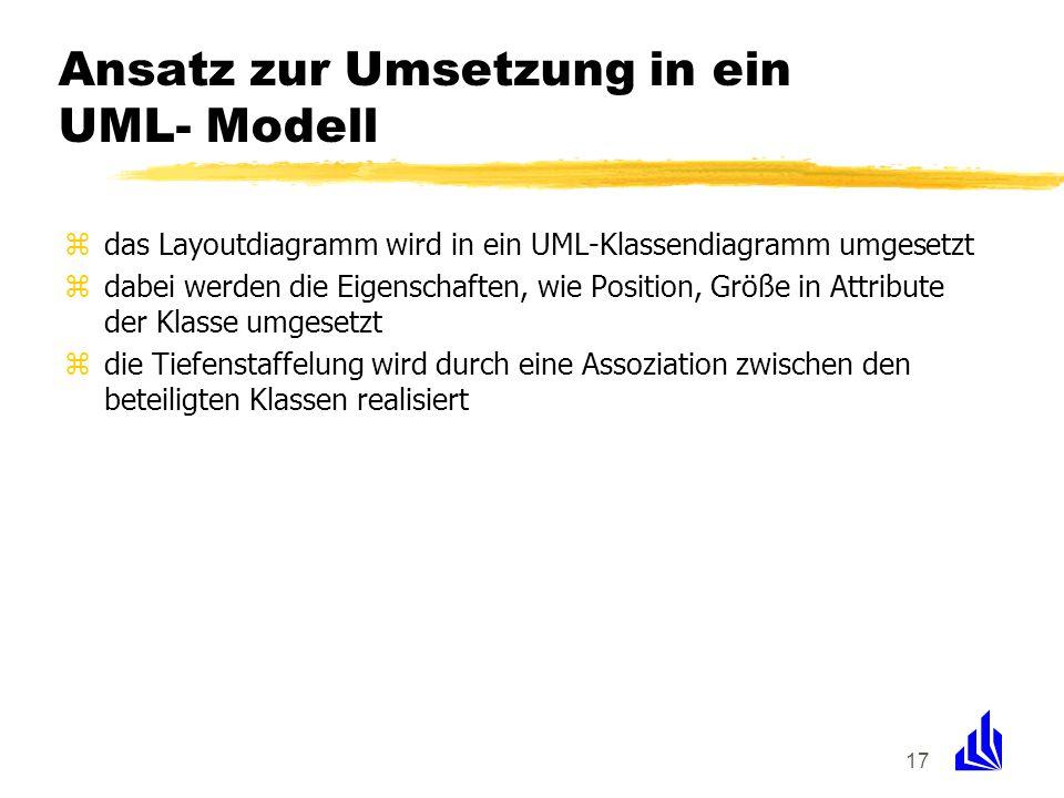 Ansatz zur Umsetzung in ein UML- Modell