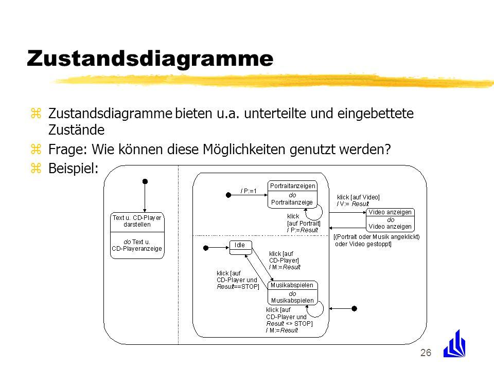 Zustandsdiagramme Zustandsdiagramme bieten u.a. unterteilte und eingebettete Zustände. Frage: Wie können diese Möglichkeiten genutzt werden