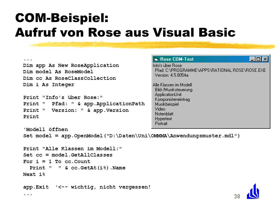 COM-Beispiel: Aufruf von Rose aus Visual Basic