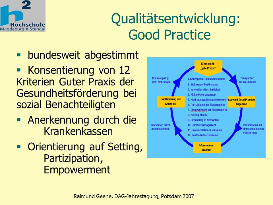 Qualitätsentwicklung: Good Practice