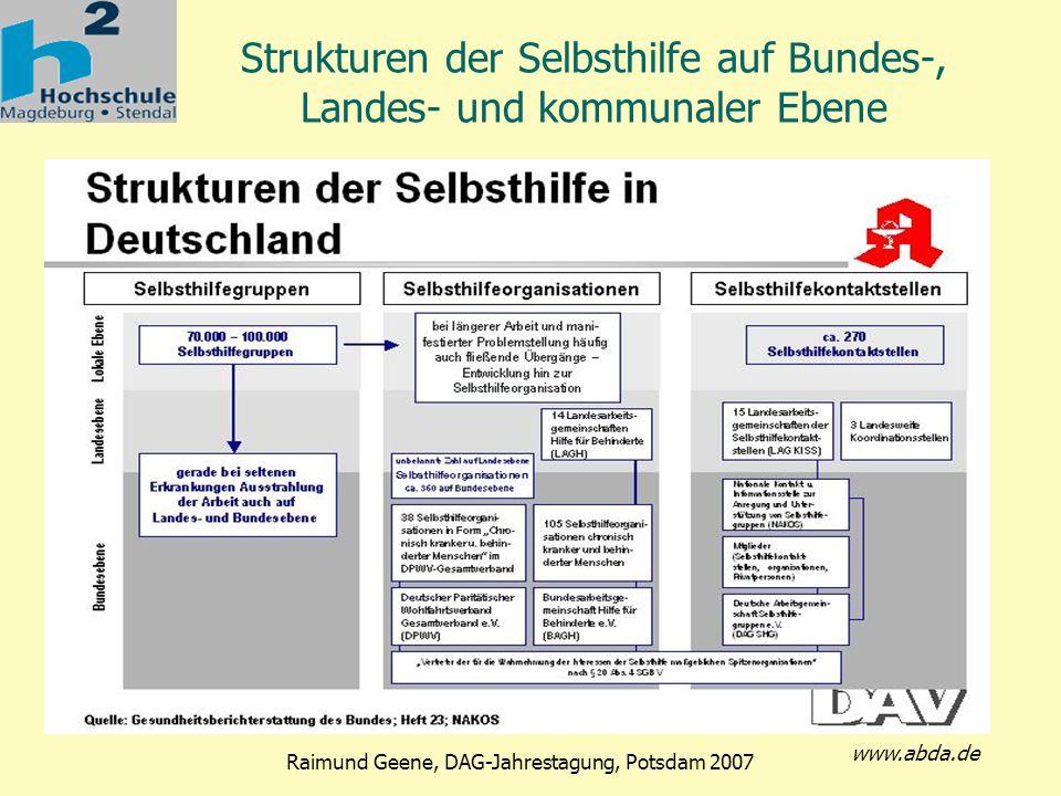 Strukturen der Selbsthilfe auf Bundes-, Landes- und kommunaler Ebene