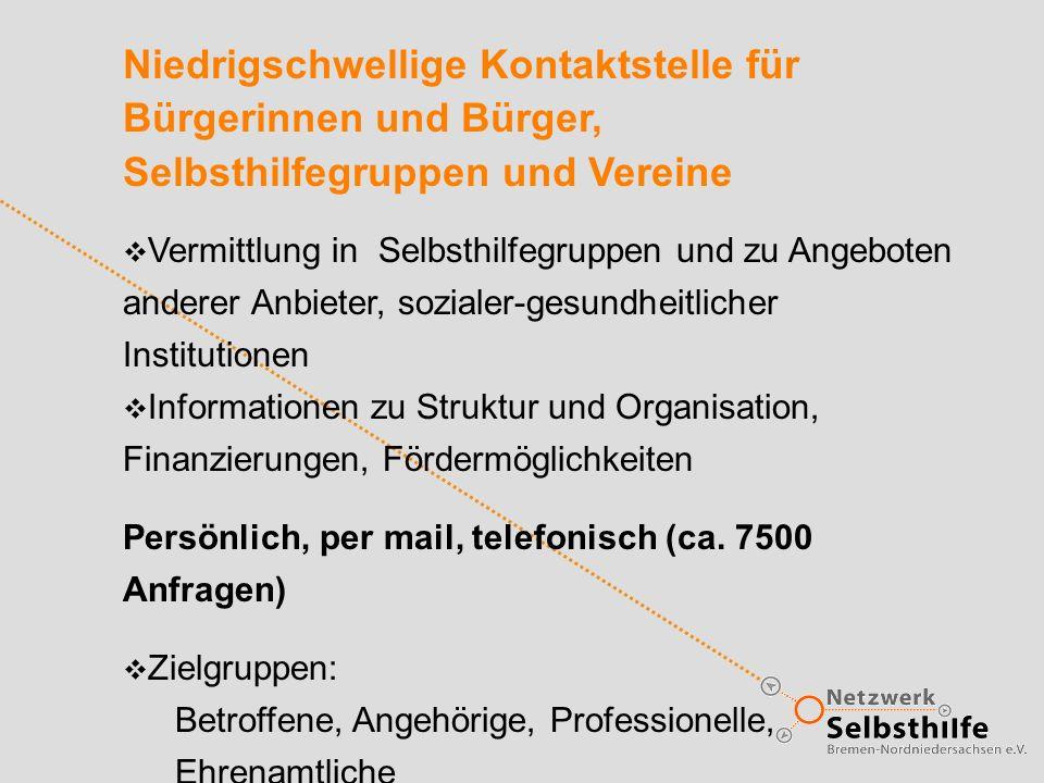 Niedrigschwellige Kontaktstelle für Bürgerinnen und Bürger, Selbsthilfegruppen und Vereine