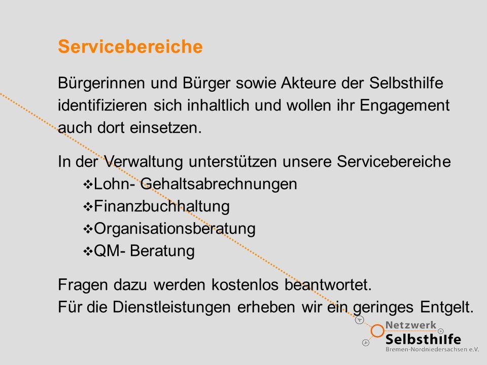 Servicebereiche Bürgerinnen und Bürger sowie Akteure der Selbsthilfe