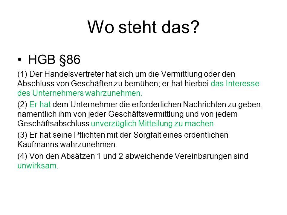 Wo steht das HGB §86