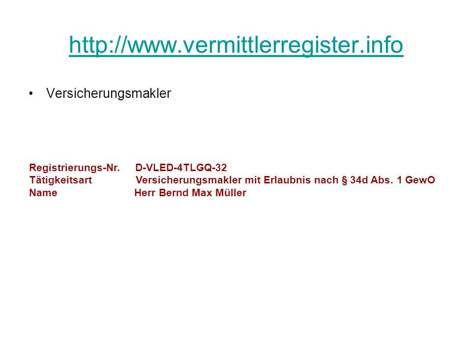 http://www.vermittlerregister.info Versicherungsmakler