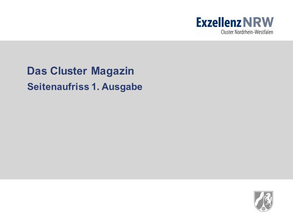 Das Cluster Magazin Seitenaufriss 1. Ausgabe