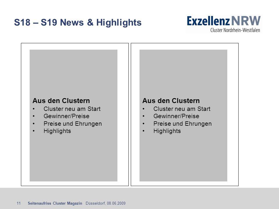 S18 – S19 News & Highlights Aus den Clustern Aus den Clustern