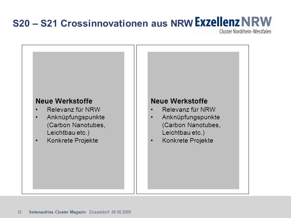 S20 – S21 Crossinnovationen aus NRW