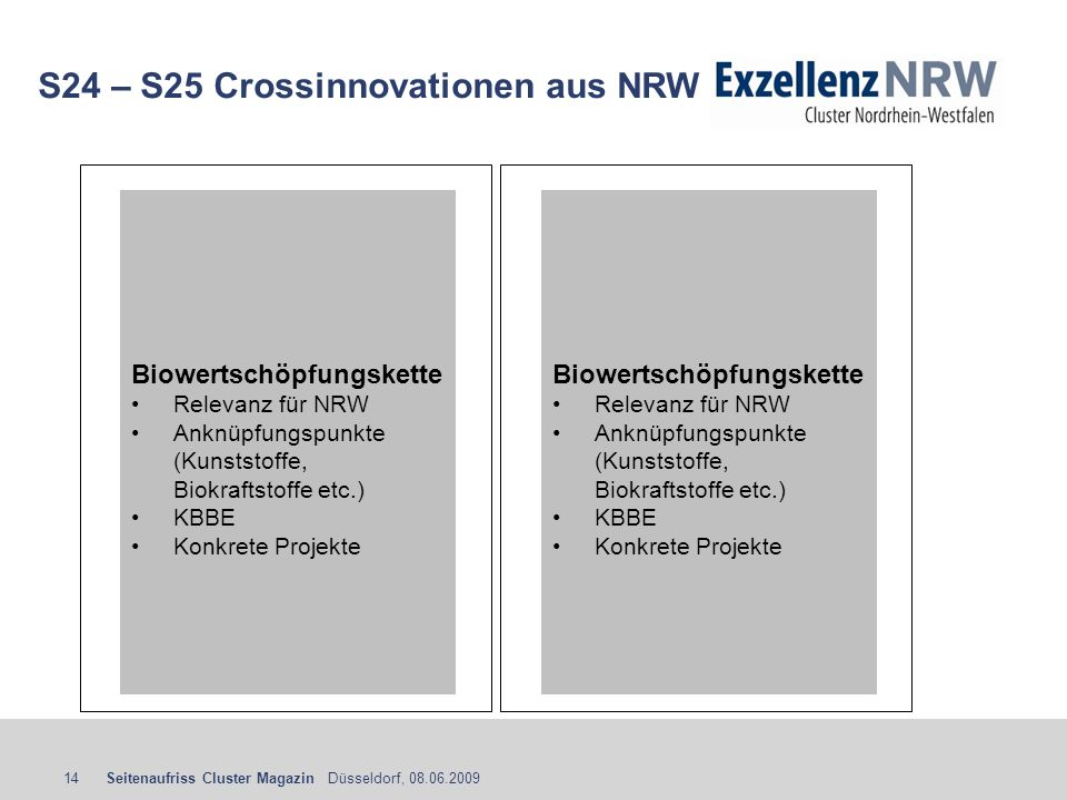 S24 – S25 Crossinnovationen aus NRW