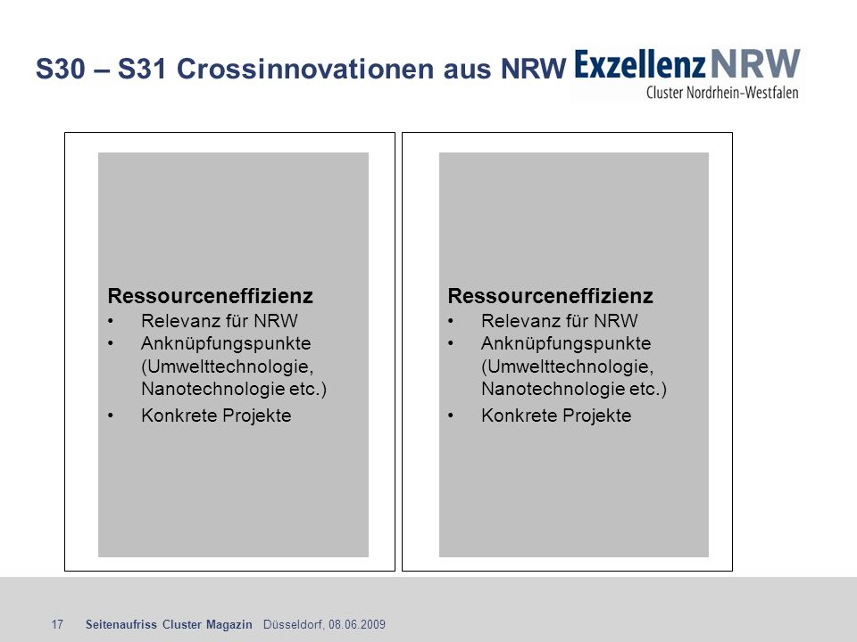 S30 – S31 Crossinnovationen aus NRW