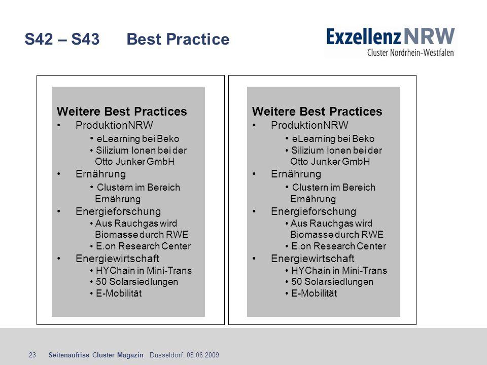 S42 – S43 Best Practice Weitere Best Practices Weitere Best Practices