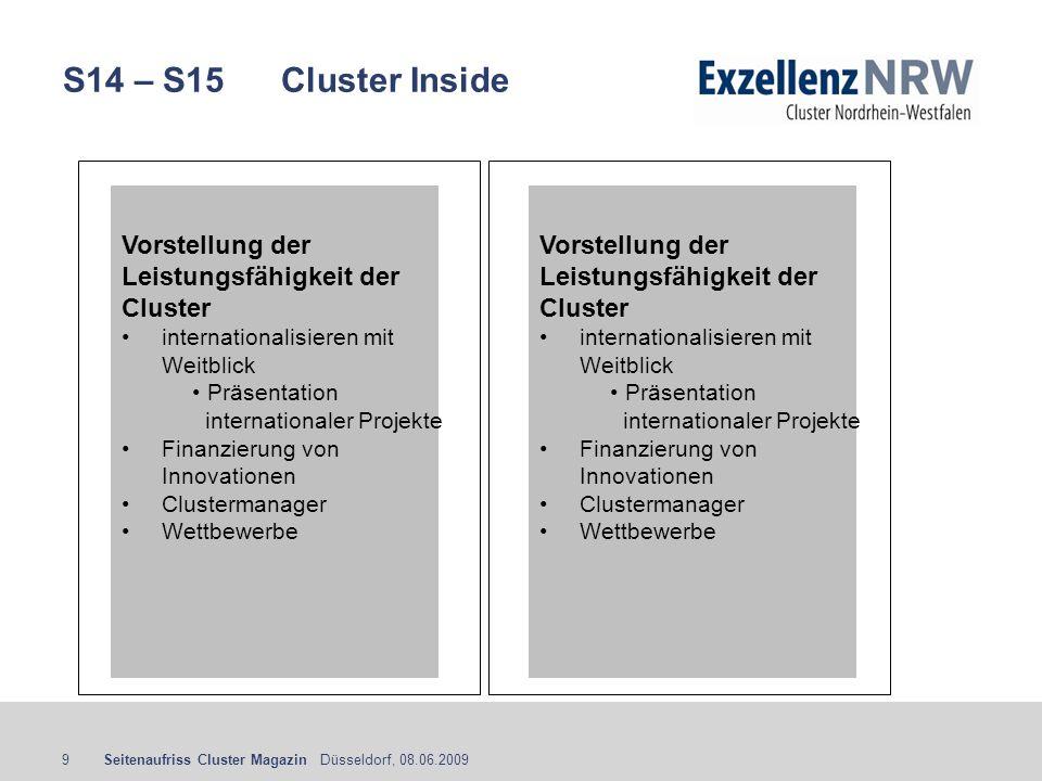 S14 – S15 Cluster Inside Vorstellung der Leistungsfähigkeit der