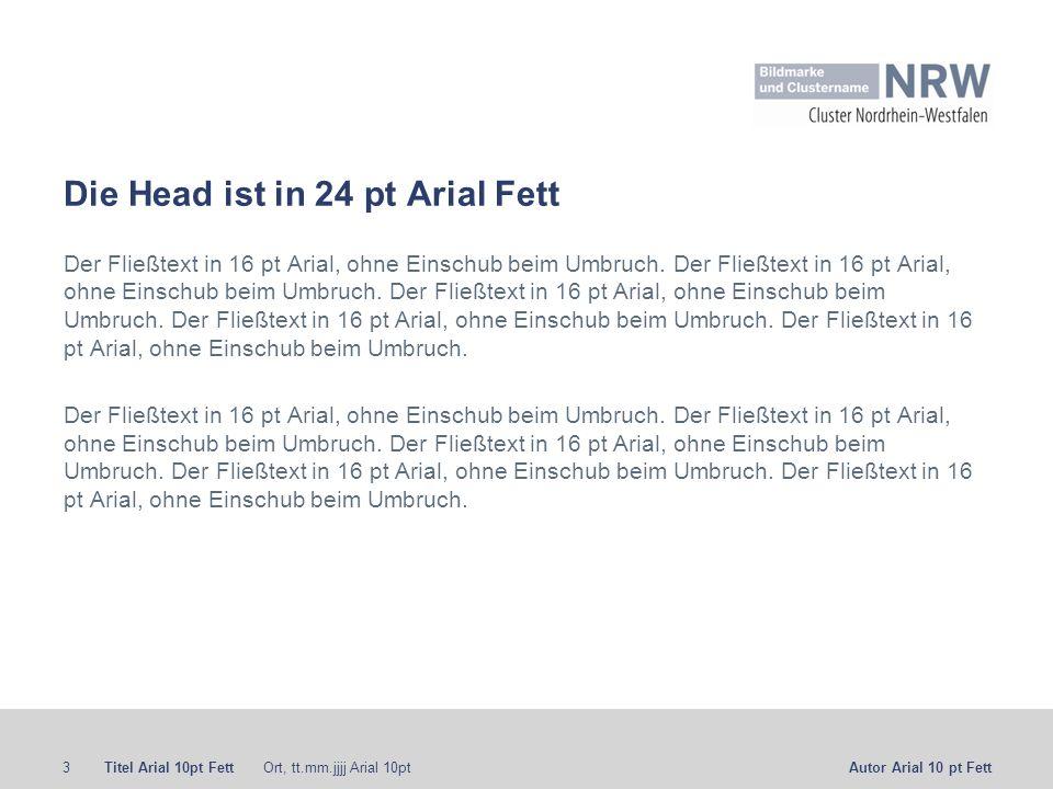 Die Head ist in 24 pt Arial Fett