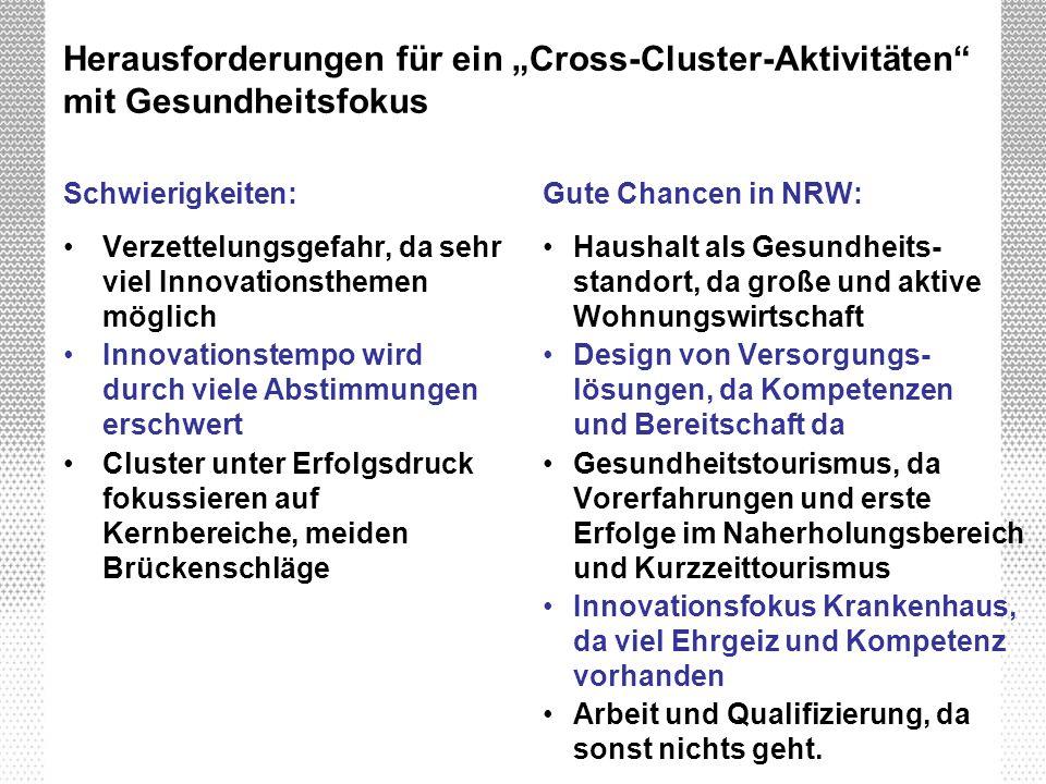 """Herausforderungen für ein """"Cross-Cluster-Aktivitäten mit Gesundheitsfokus"""